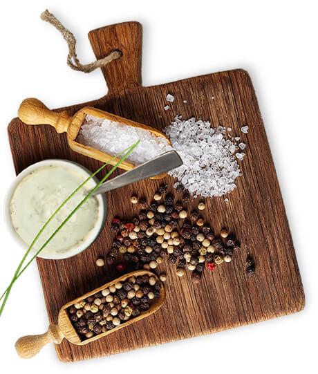 Ingrédients pour sauce (poivre, sel, etc., …)